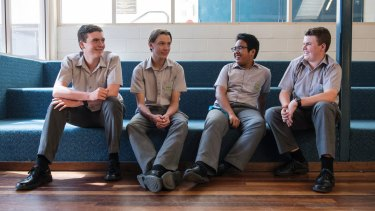 Opening up: Parramatta Marist High year 9 students Toby Bellew, Alby Giles, Monty Duncombe and Marc Caramoan.