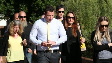 Aaron Leeson-Woolley, who was the fiance of Stephanie Scott, arrives at Griffith Court.