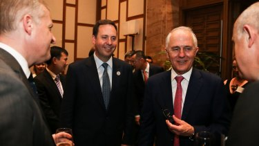 Trade Minister Steve Ciobo, left, said the Peru trade deal will put Australian farmers on an even playing field.