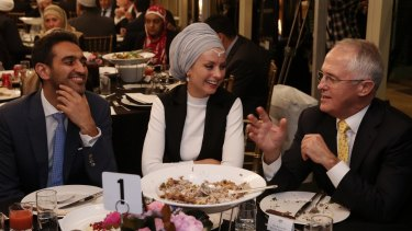 Prime Minister Malcolm Turnbull dined with broadcaster Waleed Aly and his wife Susan Carland.