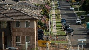 Homes being built in Elderslie, one of the new suburbs surrounding Camden.