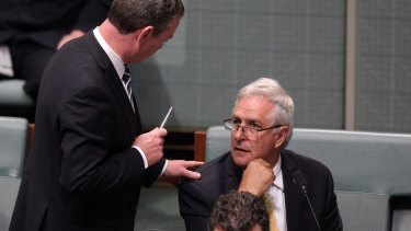 Christopher Pyne speaks with Liberal MP Don Randall.