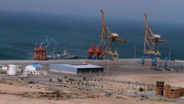 A Pakistan Navy ship berth at Gwadar port.