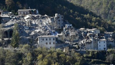 Damaged buildings in Arquata del Tronto following Sunday's massive earthquake.