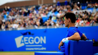 Tomic during a rest break.