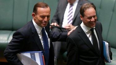 Prime Minister Tony Abbott with Environment Minister Greg Hunt on Monday.