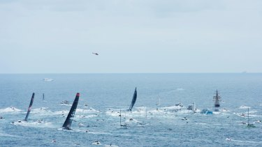 It's on: Black Jack, LDV Comanche and Wild Oats XI exiting Sydney Heads.