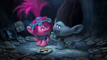 Poppy, left, is voiced by Anna Kendrick, while her foil Branch, is voiced by Justin Timberlake.
