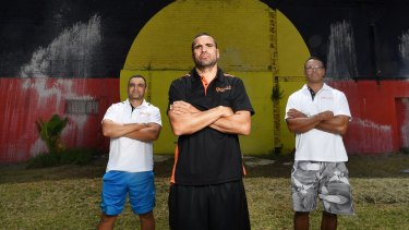 Life after boxing: Gosh Daher (left), Anthony Mundine and Amos Roberts in Redfern.