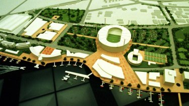 A model of the proposed Rivercity Stadium complex at Hamilton.