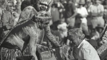 The then prime minister, Bob Hawke, receives the Barunga statement from Galarrwuy Yunupingu in Arnhem Land in 1988.