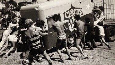 Circus Oz members rescue their van during a 1981 regional tour.