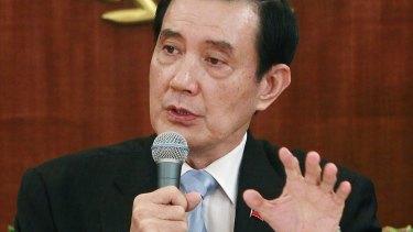 Taiwanese President Ma Ying-jeou addresses the media on Thursday.