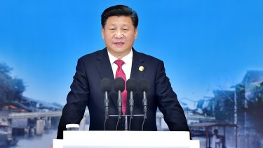 Chinese President Xi Jinping delivers a keynote speech at the Second World Internet Conference in Wuzhen.