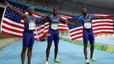 Celebrated prematurely Mike Rodgers, Justin Gatlin and Tyson Gay.