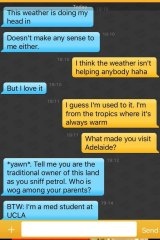 A screenshot of one of Dustin's Grindr conversations.