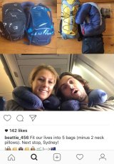 Sam Beattie posted a photograph of himself and Michele Segalla on the plane heading to Australia.