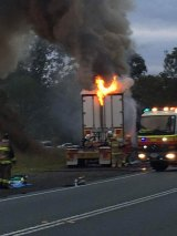 Both lanes were closed on Beaudesert Boonah Road as a potato truck caught fire.