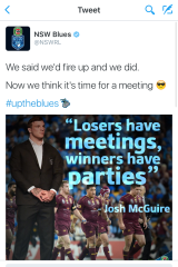 The deleted tweet: The NSWRL has been criticised for this post sent out soon after the Blues beat Queensland in game three.