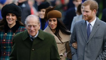 From left, Kate, Duchess of Cambridge, and Prince Philip, Meghan Markle, and Prince Harry arrive to the traditional Christmas Days service, at St. Mary Magdalene Church in Sandringham, England.