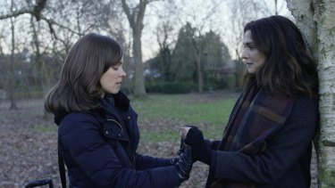 Rachel McAdams (left) as Esti and Rachel Weisz as Ronit in Disobedience.