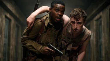 Jovan Adepo as Boyce and Dominic Applewhite as Rosenfeld in Overlord.