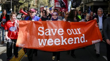 Protesters marched on Wednesday in Melbourne against the continued attack penalty rates.