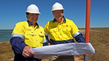 September 2009: Kevin Rudd and Chevron managing director Roy Krzywosinski at the Gorgon Gas site at Town Point, Barrow Island.