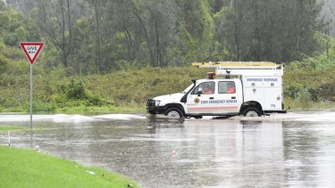Floods in Sydney. Flooded areas in Milperra south of Sydney.