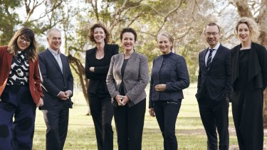 Lord mayor Clover Moore's ticket for council. From left: Jess Scully, Philip Thalis, Catherine Lezer, Clover Moore, Kerrin Phelps, Robert Kok and Jess Miller.