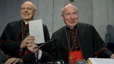 Cardinals Lorenzo Baldisseri and Christoph Schoenborn share Amoris Laetitia with the world at a press conference in Vatican City.