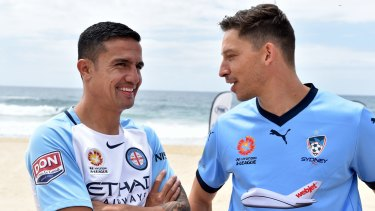 Star signings: Melbourne City's Tim Cahill and Sydney FC's Filip Holosko.