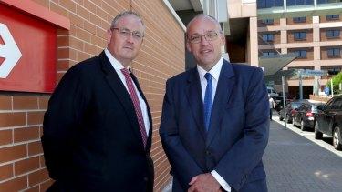 Labor's health spokesman Walt Secord, left, with Opposition Leader Luke Foley.