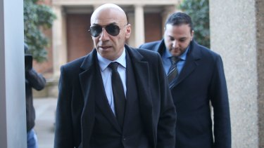 Eddie Obeid's middle son Moses, left, and lawyer Abbas Soukie arrive at the Supreme Court in Sydney on Monday.