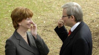 In happier times: Julia Gillard and Kevin Rudd in 2006.