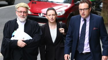 Jayne Gersbach enters the NSW Supreme Court accompanied by her barrister Michael McAuley (left) and solicitor Paul Blake.