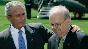 Former US president George Bush with adviser Karl Rove.