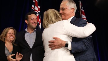 Prime Minister Malcolm Turnbull and his wife Lucy at the Liberal Party election night function at the Sofitel in Sydney on Saturday 2 July 2016.