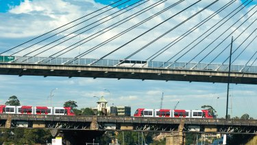 An artist's impression of trams running on the old Glebe Island Bridge.