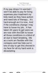 Copies of text messages the Australian Manufacturing Workers Union received from Streets ice cream factory workers