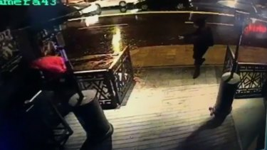 The attacker, armed with a long-barrelled weapon, shoots his way into the Reina nightclub in Istanbul, on Sunday morning.