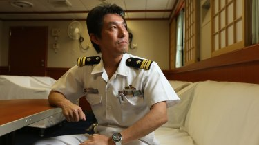 Operating officer Ishii in the Shirase officer quarters.