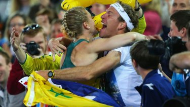 Pearson launches into an embrace with Australians fans.