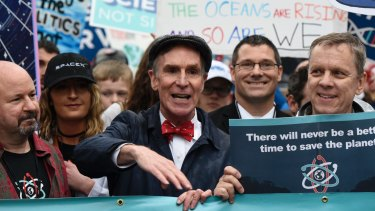 """Bill Nye """"The Science Guy"""" participates in the March for Science in Washington in late April. Scientists, students and research advocates rallied from the Brandenburg Gate to the Washington Monument on Earth Day, conveying a global message of scientific freedom without political interference."""