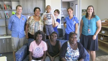 Turning the tide: The Marulu School Clinic multidisciplinary team at Baya Gawiy with June Oscar and family members Hudson, 6, Aisha, Marylin, and Raylene.