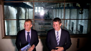 Then NSW premier Mike Baird (right) and then planning minister Rob Stokes announcing plans for a technology hub at White Bay Power Station in 2015.