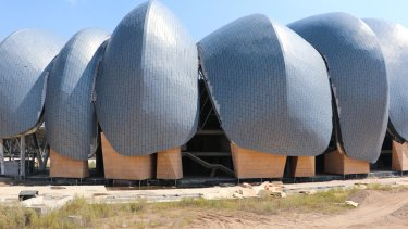 The unfinished sports centre at Yudong New District in Datong City of Shanxi Province.
