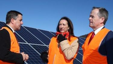 Opposition Leader Bill Shorten with Canberra MP Gai Brodtmann at a solar farm near Canberra last year.