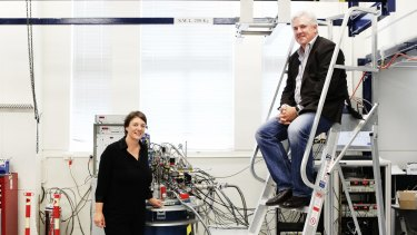 Professor Michelle Simmons and CBA CIO David Whiteing inside the quantum computing lab at UNSW.    Photo by Peter Braig  (NO CAPTION INFORMATION PROVIDED)