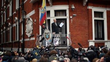 Julian Assange speaks from the balcony of the Ecuadorian embassy late last week.